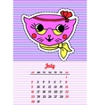 Calendar 2017 with cats July In cartoon 80s-90s vector image vector image