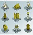 camp color gradient isometric icons vector image
