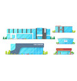 car dealers centers and showroom buildings vector image vector image