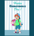 cartoon of cute grandson boy with bunch of vector image vector image