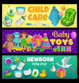 child care and newborn kid toys shop banners vector image