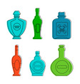 cognac bottle icon set color outline style vector image vector image