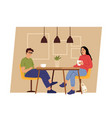 couple on dating geek man and woman sitting on vector image