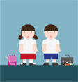 cute big fat boy and girl back to school vector image vector image
