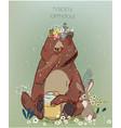 cute cartoon lion bear and hare vector image