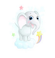 cute little cartoon elephant on cloud vector image vector image