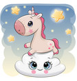 cute unicorn a on the cloud vector image vector image