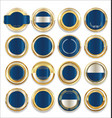 empty gold silver and blue labels collection vector image