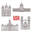 famous buildings symbols and icons us vector image
