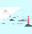 flat sea transport colorful template vector image vector image