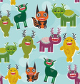 Funny monsters Set seamless pattern on blue vector image vector image