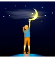 Girl Looking Up at the Moon vector image vector image