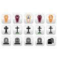 Halloween graveyard icons set - coffin cross gr vector image vector image