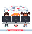 kids learn coding on laptops in school vector image vector image