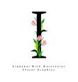 letter i watercolor floral background vector image