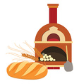 Loaf of bread and oven vector image