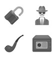 lock hacked safe smoking pipe private detective vector image vector image