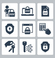 locking and unlocking icon set in glyph style 2 vector image vector image