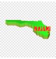 Map of florida with miami icon cartoon style