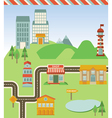 map with houses road and signs vector image