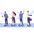 men and women with hoverboard vector image