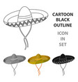 mexican sombrero icon in cartoon style isolated on vector image