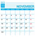 November 2015 calendar page template vector image vector image