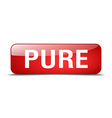 pure red square 3d realistic isolated web button vector image vector image