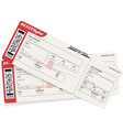 red and white boarding pass airplane tickets vector image vector image