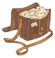 Retro Leather Mail Bag with Letters vector image vector image