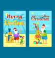 santa claus making photo with snowman made of sand vector image vector image