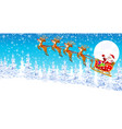 santa claus on a sleigh with reindeer in the vector image