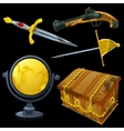 Set of ancient weapons and golden globe vector image vector image