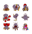 set of funny purple octopuses in different vector image vector image