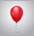 shiny red balloon with ribbon on grey background vector image vector image