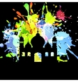 Silhouette of mosque on abstract background vector image
