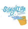 songkran festival bucket of water background vector image vector image