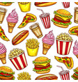 street fast food seamless pattern food and drinks vector image