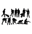 various types silhouettes for working people vector image vector image