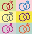 Wedding rings icons vector image vector image