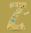 yellow letter z with floral decor and necklace vector image vector image