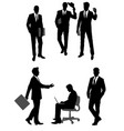group scene of businessmen silhouettes vector image