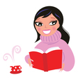 beautiful woman reading book from red library vector image