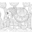 adult coloring bookpage a cute elephant on the vector image vector image
