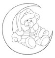 adult coloring bookpage a santa bear on the moon vector image