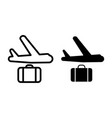 airplane and suitcase line and glyph icon plane vector image
