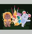 back to school cute bear and koala with watercolor vector image vector image