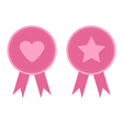 Badge set with heart star star heart and ribbons vector image vector image