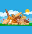 big bread icons set nature vector image vector image