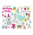 big set of birthday party clip arts vector image